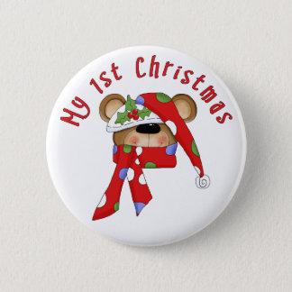 Christmas Bear Head 1st Christmas 2 Inch Round Button