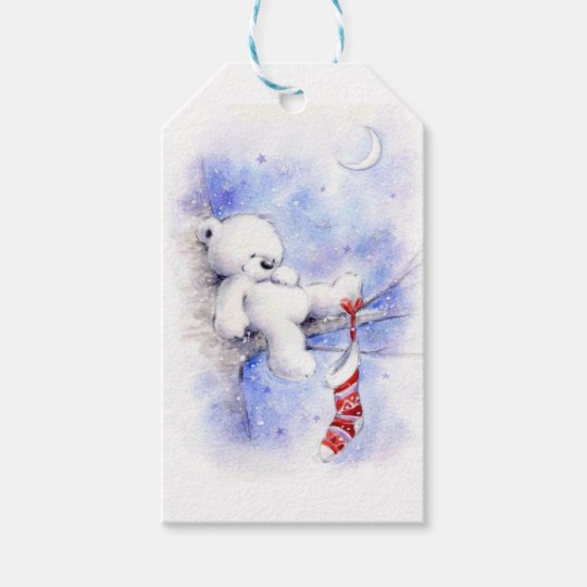 Christmas Bear In A Tree Gift Tags