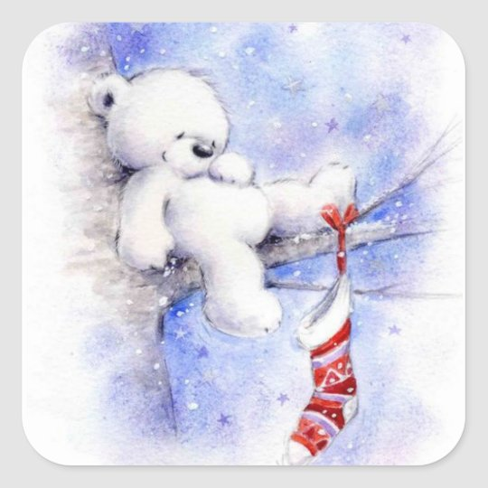 Christmas Bear In A Tree Square Sticker