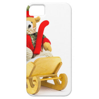 Christmas bear in wooden sleigh on white iPhone 5 case