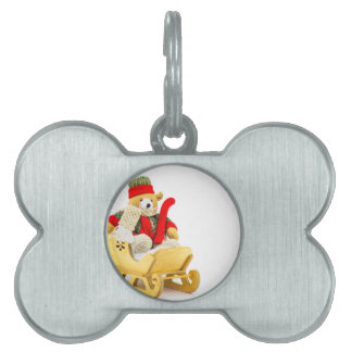 Christmas bear in wooden sleigh on white pet ID tag