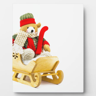 Christmas bear in wooden sleigh on white plaque