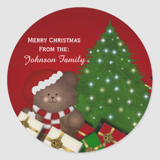 Christmas Bear Personalized Stickers