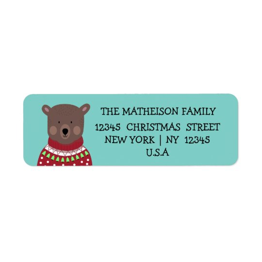 Christmas Bear Return Address Label
