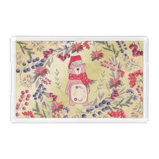 Christmas Bear Watercolor Berries Gold Acrylic Tray