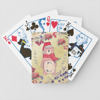 Christmas Bear Watercolor Berries Gold Bicycle Playing Cards