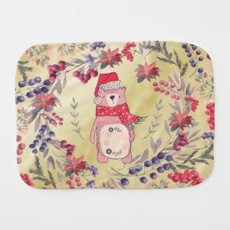 Christmas Bear Watercolor Berries Gold Burp Cloth