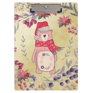 Christmas Bear Watercolor Berries Gold Clipboard