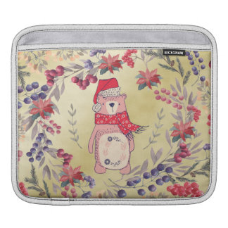 Christmas Bear Watercolor Berries Gold iPad Sleeve