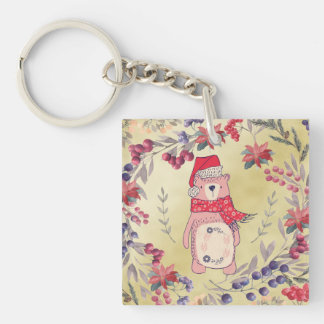 Christmas Bear Watercolor Berries Gold Keychain