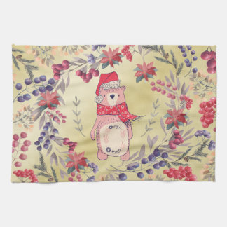 Christmas Bear Watercolor Berries Gold Kitchen Towel