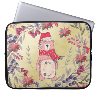 Christmas Bear Watercolor Berries Gold Laptop Sleeve
