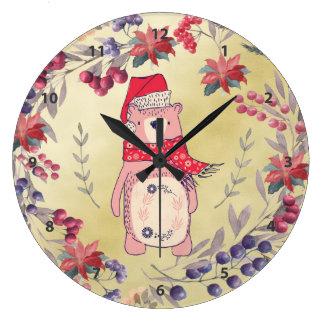 Christmas Bear Watercolor Berries Gold Large Clock