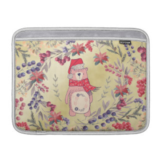 Christmas Bear Watercolor Berries Gold MacBook Sleeve