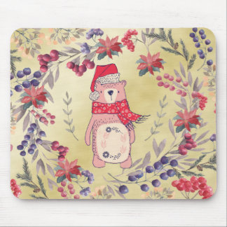 Christmas Bear Watercolor Berries Gold Mouse Pad