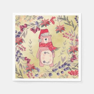 Christmas Bear Watercolor Berries Gold Paper Napkins