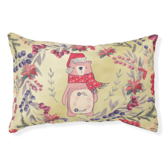Christmas Bear Watercolor Berries Gold Pet Bed
