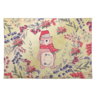 Christmas Bear Watercolor Berries Gold Placemat
