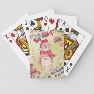 Christmas Bear Watercolor Berries Gold Playing Cards