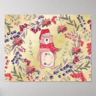 Christmas Bear Watercolor Berries Gold Poster