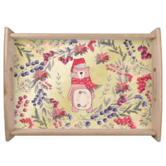 Christmas Bear Watercolor Berries Gold Serving Tray