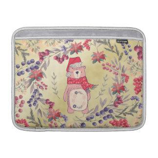Christmas Bear Watercolor Berries Gold Sleeves For MacBook Air