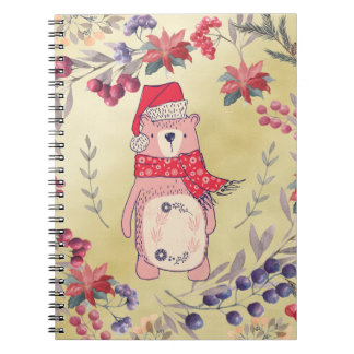 Christmas Bear Watercolor Berries Gold Spiral Notebook