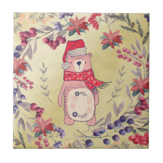 Christmas Bear Watercolor Berries Gold Tile