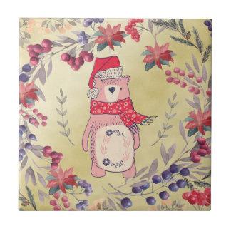 Christmas Bear Watercolor Berries Gold Tiles