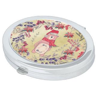 Christmas Bear Watercolor Berries Gold Vanity Mirror