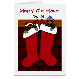 Christmas bears in stockings twins card