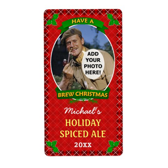 Christmas Beer Custom Photo Red Argyle Homebrewing Shipping Label