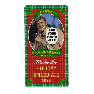 Christmas Beer Customized Photo Green Plaid Shipping Label