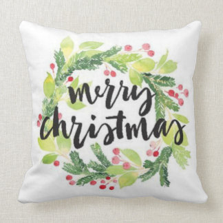 Christmas Believe Wreath Holiday Cheer Pillow