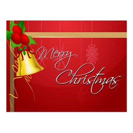 Christmas Bell and Ribbon Post Card
