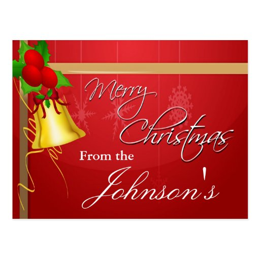 Christmas Bell and Ribbon Postcards