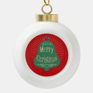 Christmas bell ceramic ball ornament