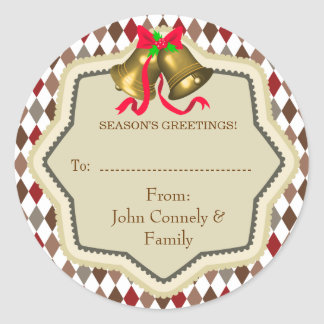 Christmas Bell Checkered Gift Tag Sticker