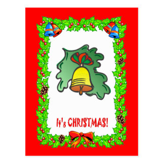 Christmas bell decoration postcard