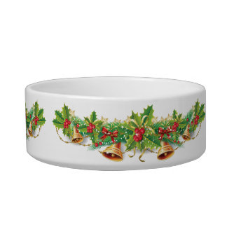 Christmas Bell Garland Medium Pet Bowl