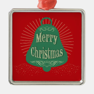 Christmas bell Silver-Colored square ornament