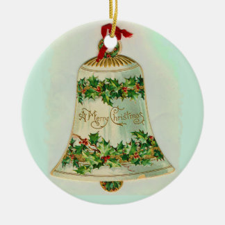 Christmas Bell with Holly Round Ceramic Ornament