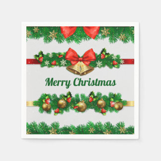 Christmas Bells and Hollies | Napkin Paper Napkin