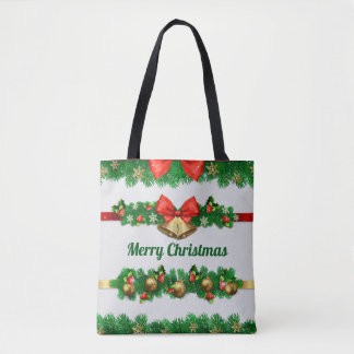 Christmas Bells and Hollies Tote Bag