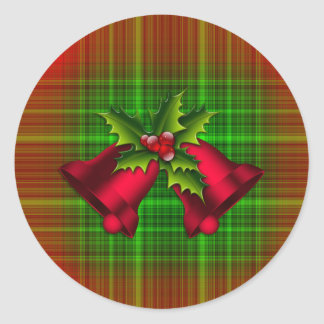 Christmas Bells and Holly Classic Round Sticker