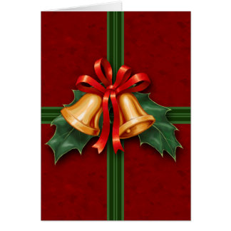 Christmas Bells and Holly Leaves Red Greeting Card