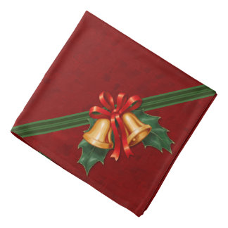Christmas Bells and Holly Leaves Red Kerchief