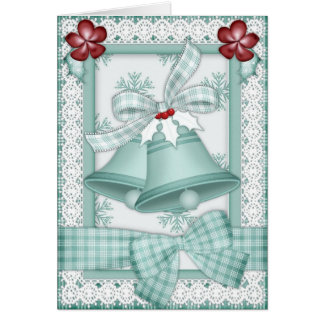 Christmas Bells and Lace in Green Christmas Card