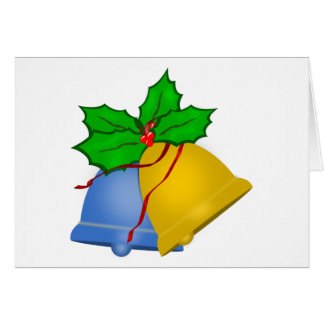 Christmas Bells - Blue and Gold Greeting Card