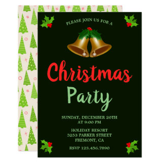 Christmas Bells | Green Holiday Party Invitation